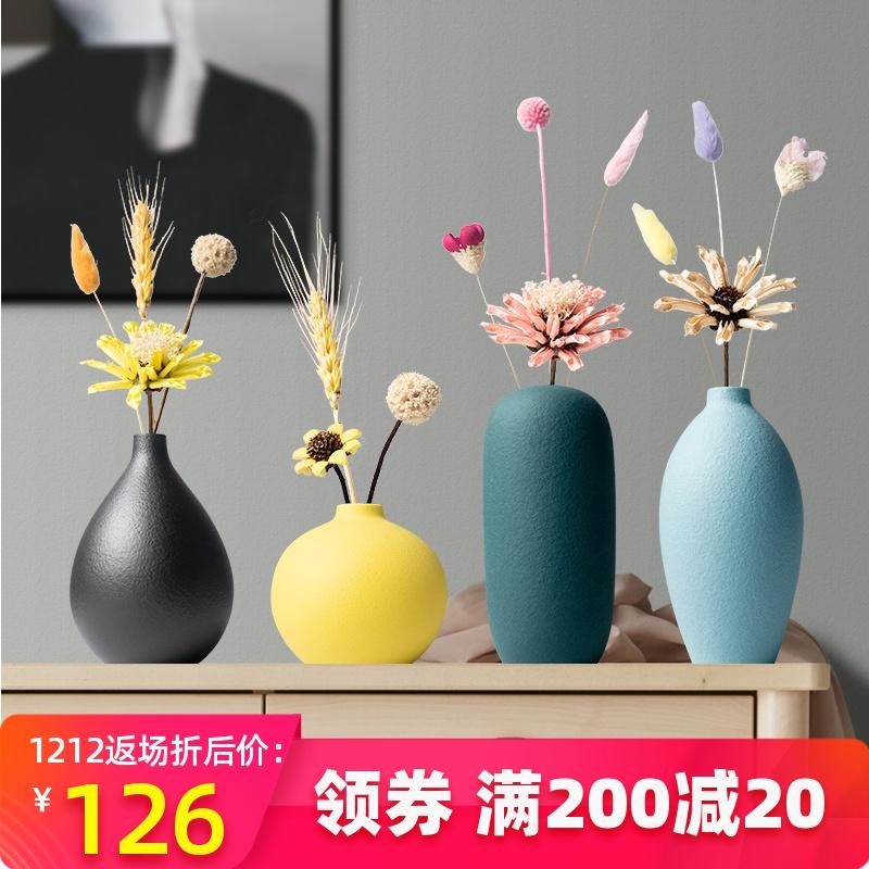 Bắc Âu Morandi bình hoa khô trang trí hoa trang trí phòng khách cắm hoa TV tủ ăn bàn gốm - Vase / Bồn hoa & Kệ