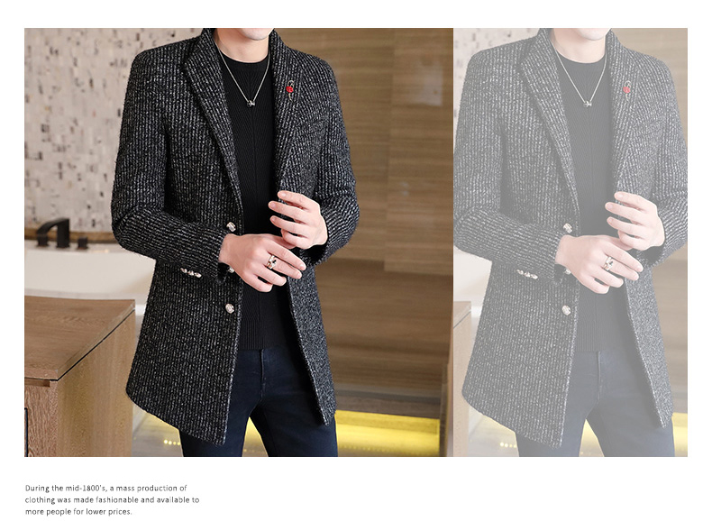 Autumn and winter windshield men's long hair coat Korean version of the trend handsome British wind coat men thickened 63 Online shopping Bangladesh