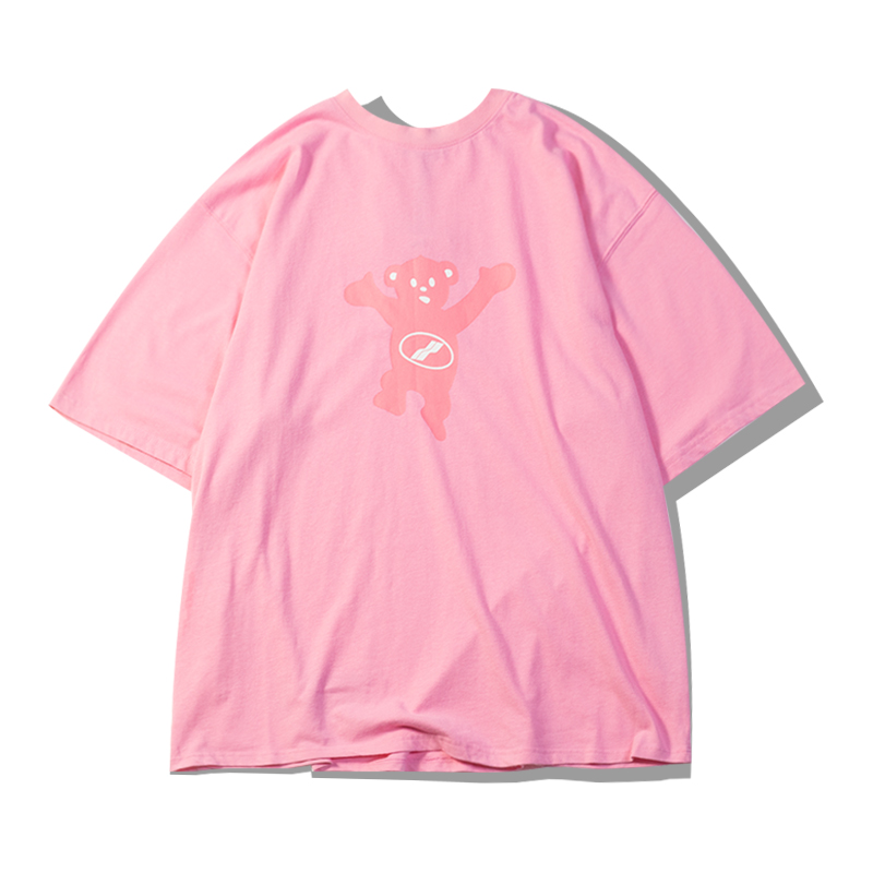 FDB Tide brand pink Winnie OVERSIZE loose short-sleeved T-shirt sleeve fifth of male and female couple Teddy blue haze