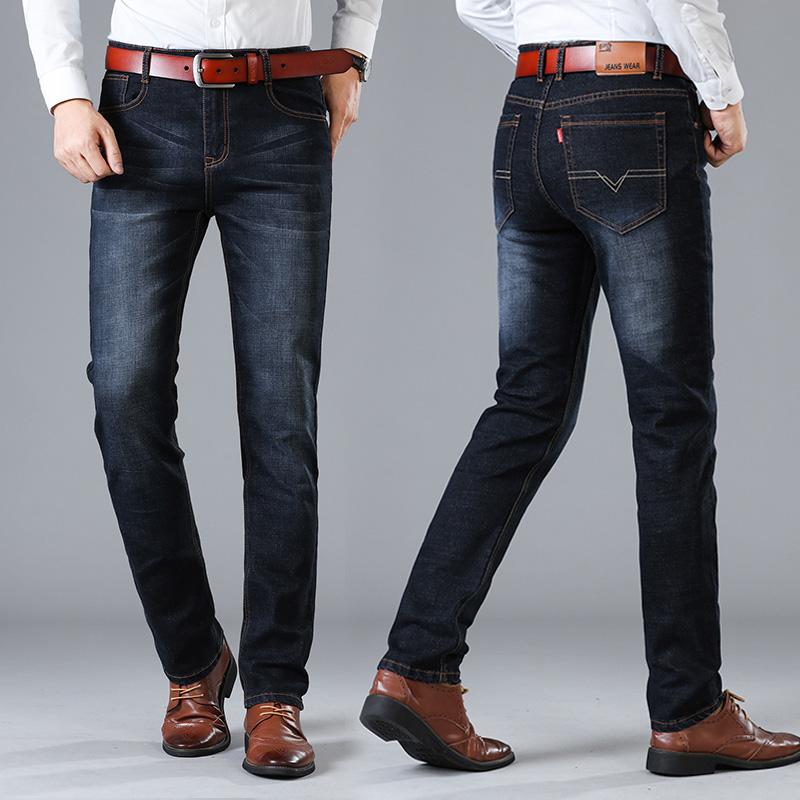 商务牛仔休闲裤男透气牛仔裤宽松直筒长裤子