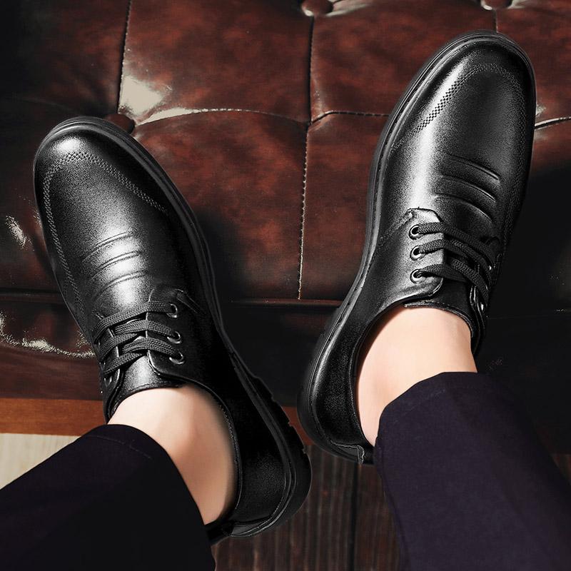 商务正装皮鞋男士内增高男鞋夏季青年真皮英伦黑圆头透气休闲鞋子