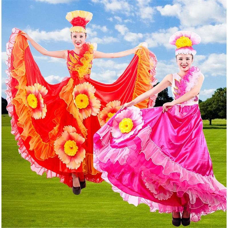 Múa khai mạc váy xòe lớn 2019 trang phục biểu diễn sân khấu mới dành cho nữ trưởng thành váy dài biểu diễn không khí khiêu vũ mùa xuân và mùa thu - Quần áo ngoài trời