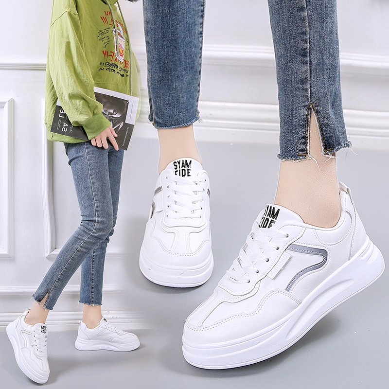 小白鞋女2020春季新款韩版百搭松糕厚底系带运动休闲鞋学生板鞋子