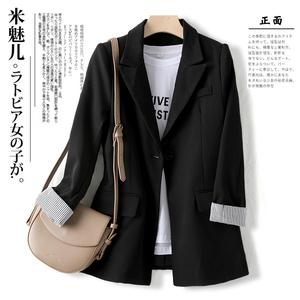 2021年新款春夏薄款黑色西装外套女春秋中长显瘦七分袖白色小西服