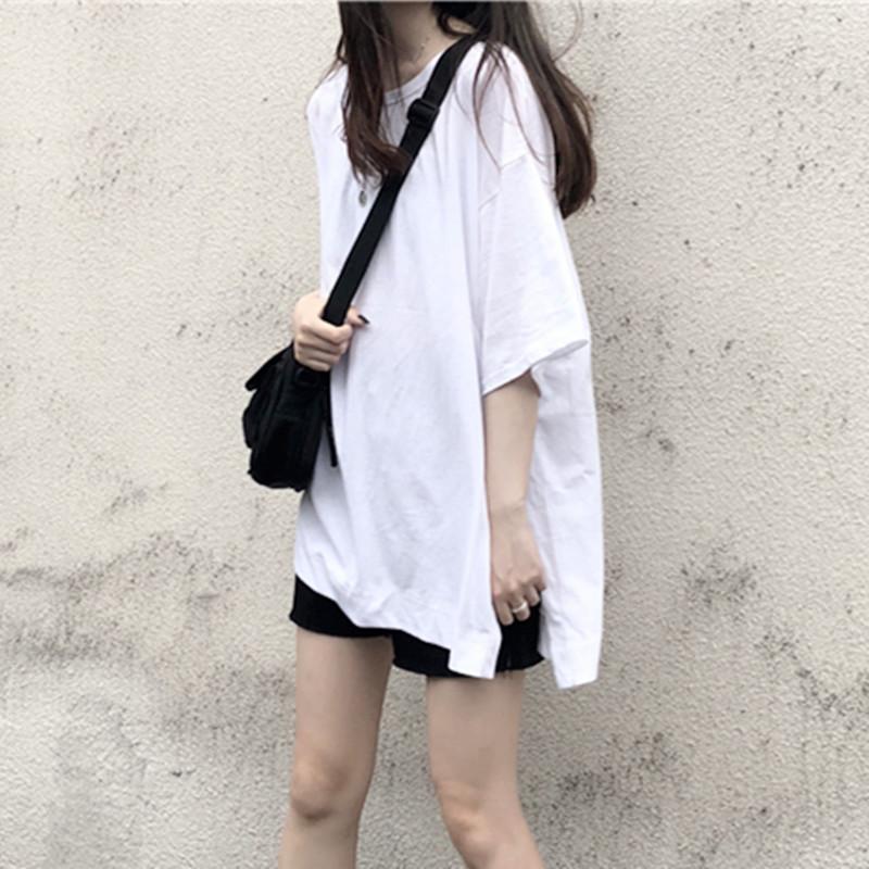 全白两边侧开叉白色t恤女短袖2019新款全棉韩式上衣女韩版宽松夏