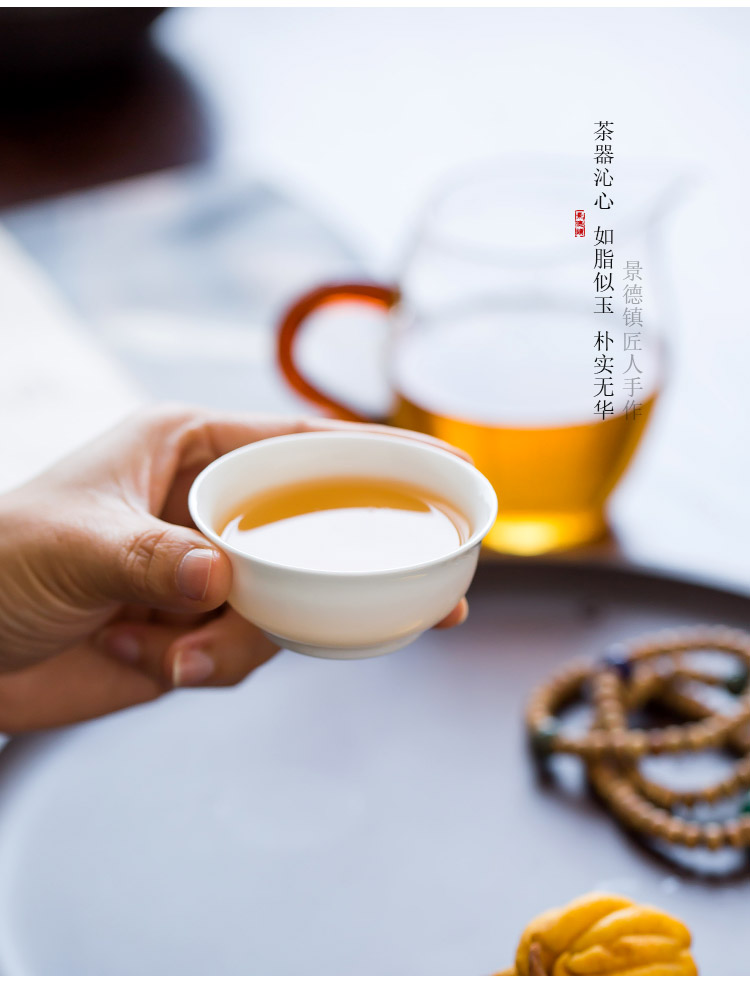 Jingdezhen up the fire which manual pure white porcelain kung fu tea cup, a single small ceramic sample tea cup masters cup