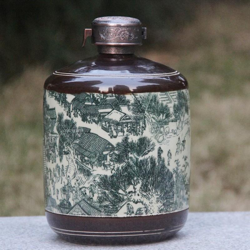 景德镇1斤3斤5斤陶瓷酒瓶仿古清明上河图密封空酒坛五斤装带锁扣