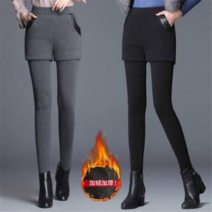 加绒打底裤女秋冬外穿加厚假两件包臂大码高腰弹力显瘦小脚长裤