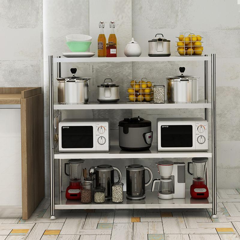 加厚不锈钢厨房置物架落地�多层收纳架家用微波炉烤箱锅架储�物架子