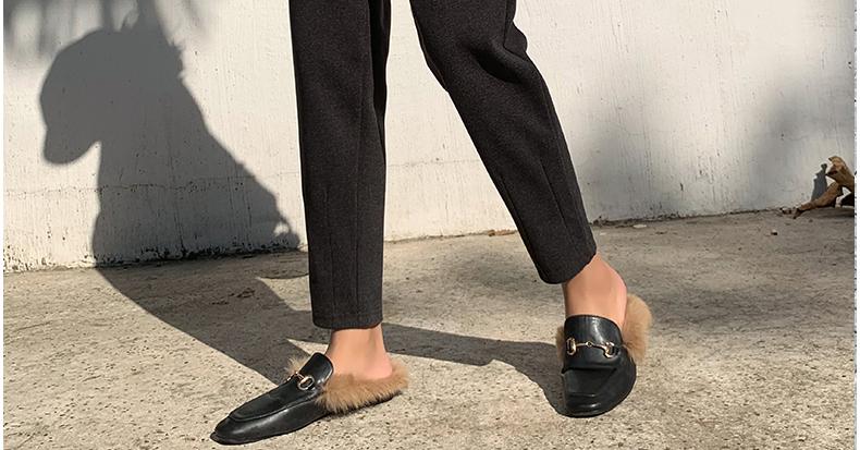 毛呢阔腿裤女2019新款秋冬萝卜奶奶裤小个子宽松显瘦直筒哈伦九分商品详情图