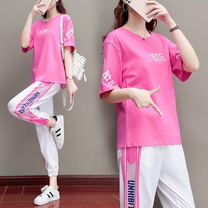 运动休闲套装女宽松韩版2020年夏季新款纯棉短袖哈伦长裤子两件套