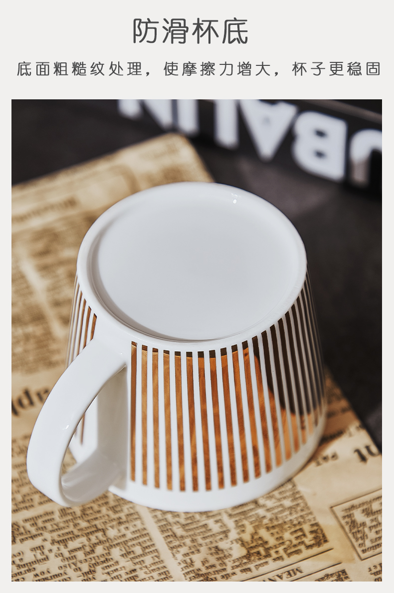 Bincoo reflection coffee cup ceramic cups and saucers suit panda mirror cup light European - style key-2 luxury high creative cup appearance level