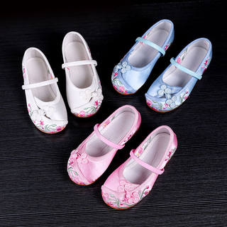 Chinese clothing girls embroidered shoes old Beijing Children's handmade cloth shoes national wind costume embroidered shoes dance shoes student