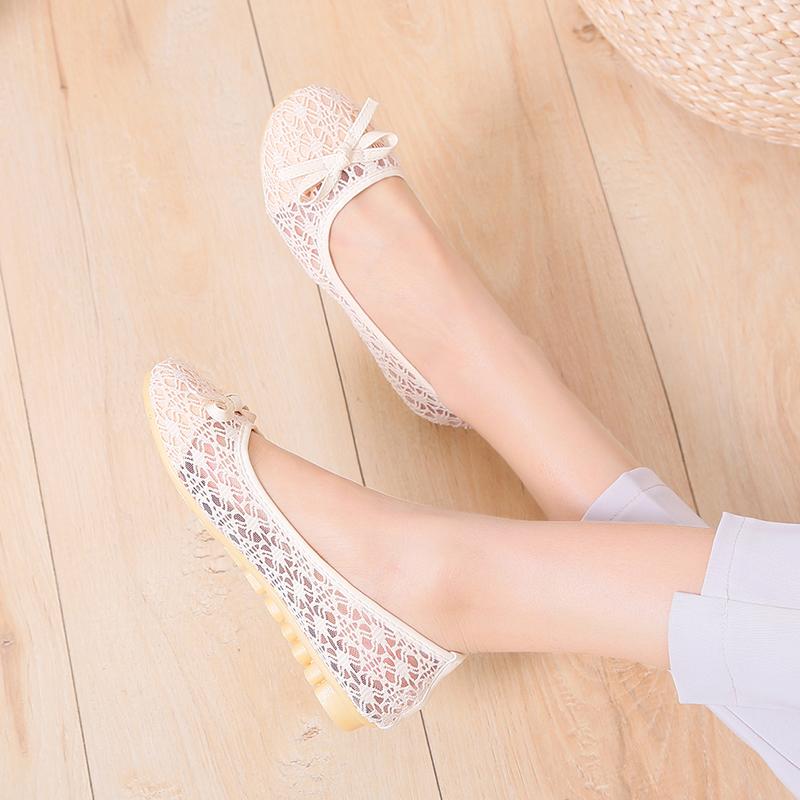 夏季方头网纱蕾丝透气平跟单鞋女鞋