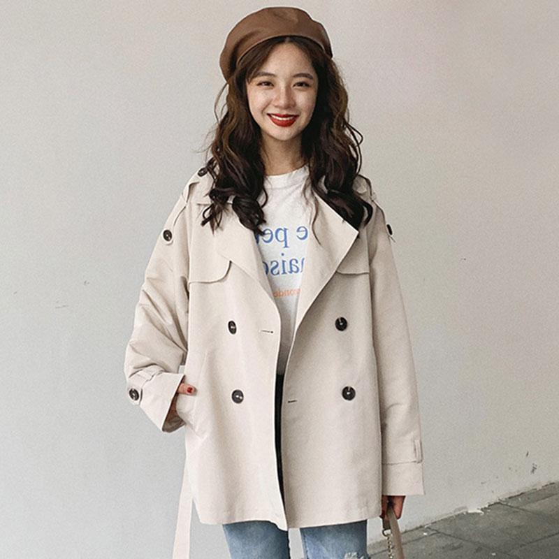 小矮个子经典精品风衣女2020新款女装春季宽松韩版双排扣短款外套