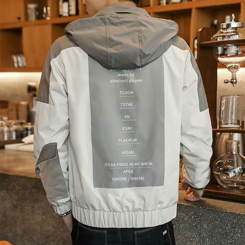 賓慧春季夾克新款夾克潮款男士2020工裝夾克立領夾克連帽外套飛行