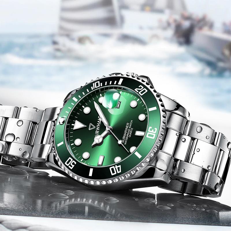 马克华菲2020新款绿水怪水�锕硎直砟惺炕�械男表正品牌名�牌非瑞士