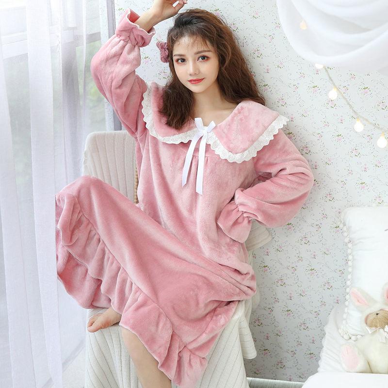 睡裙女冬长款法兰绒加厚加长韩版少女宽松珊瑚绒睡衣甜美可爱学生