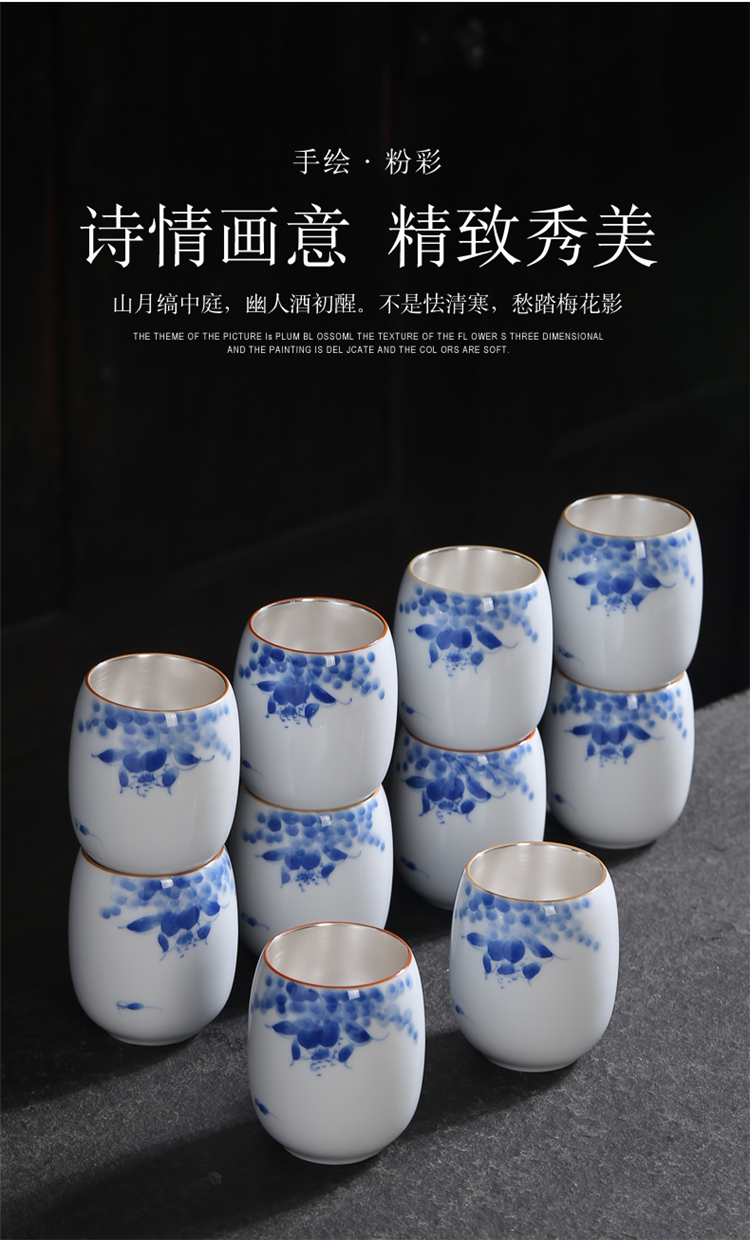 Gold hand - made ceramic cups kung fu tea set of blue and white porcelain accessories large master cup single cup cup sample tea cup cup