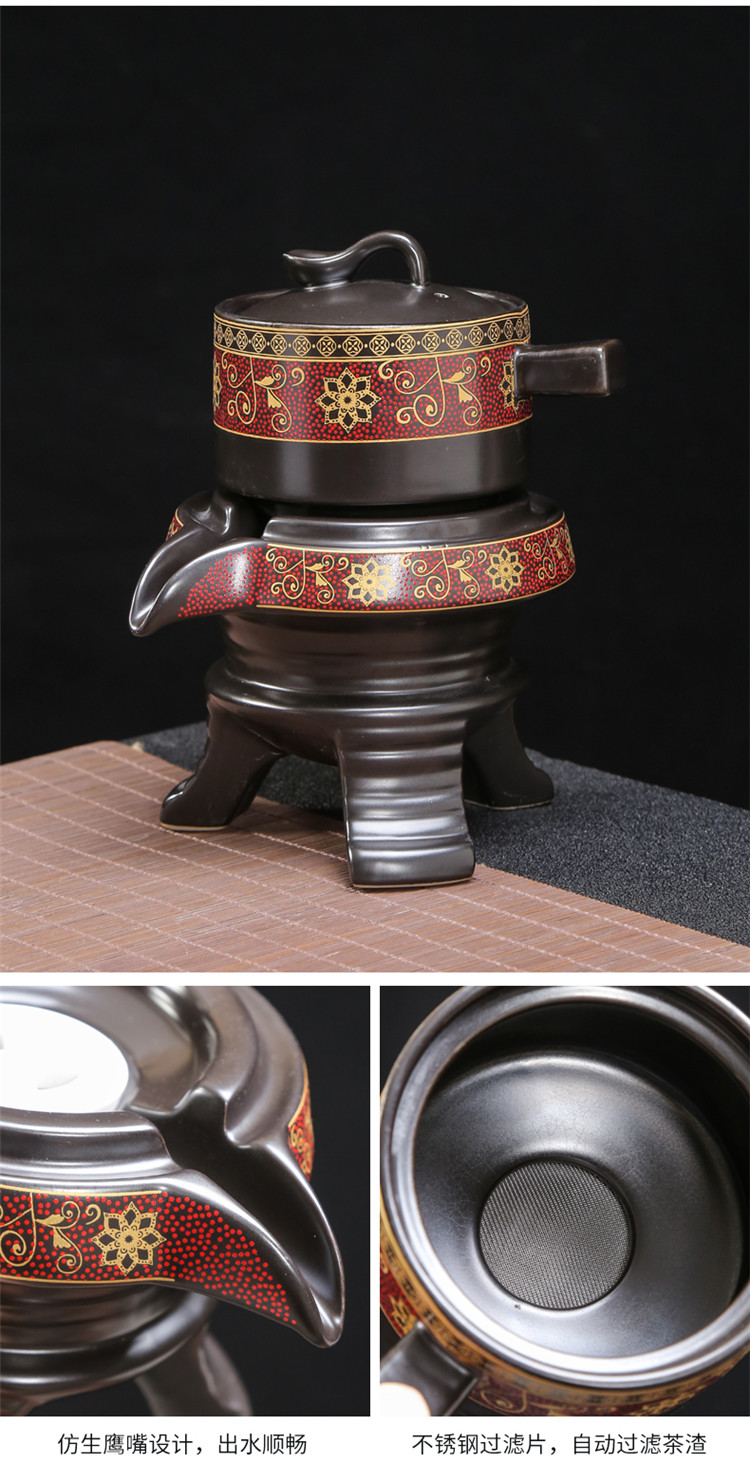 Japanese small sets of kung fu tea set suit household ceramic tea cup tea tray was coarse pottery office representative of restoring ancient ways