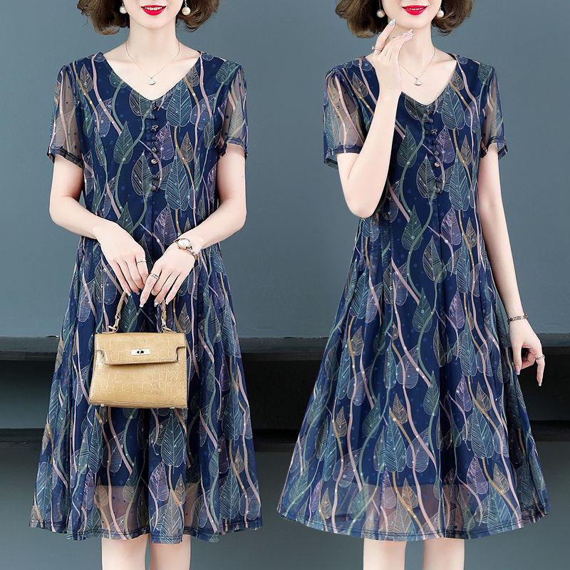 妈妈夏装连衣裙短袖洋气中老年女装中长款裙