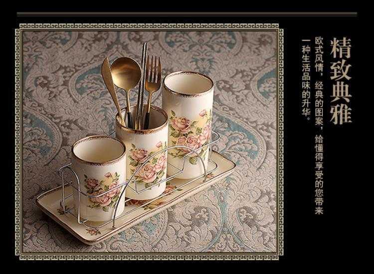 筷子筒沥水家用餐具收纳盒置物架欧式创意厨房筷笼筷篓陶瓷筷子架