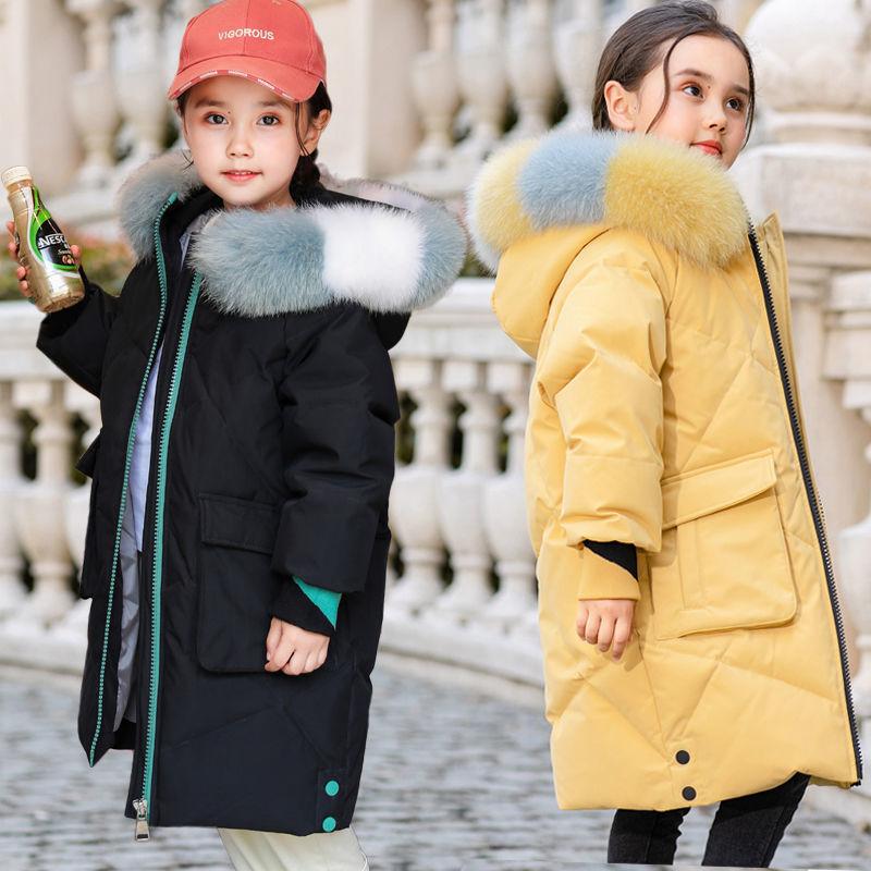 新款�女童羽绒棉衣冬装2020女孩中长款加厚棉〓服洋气大毛领连帽棉袄