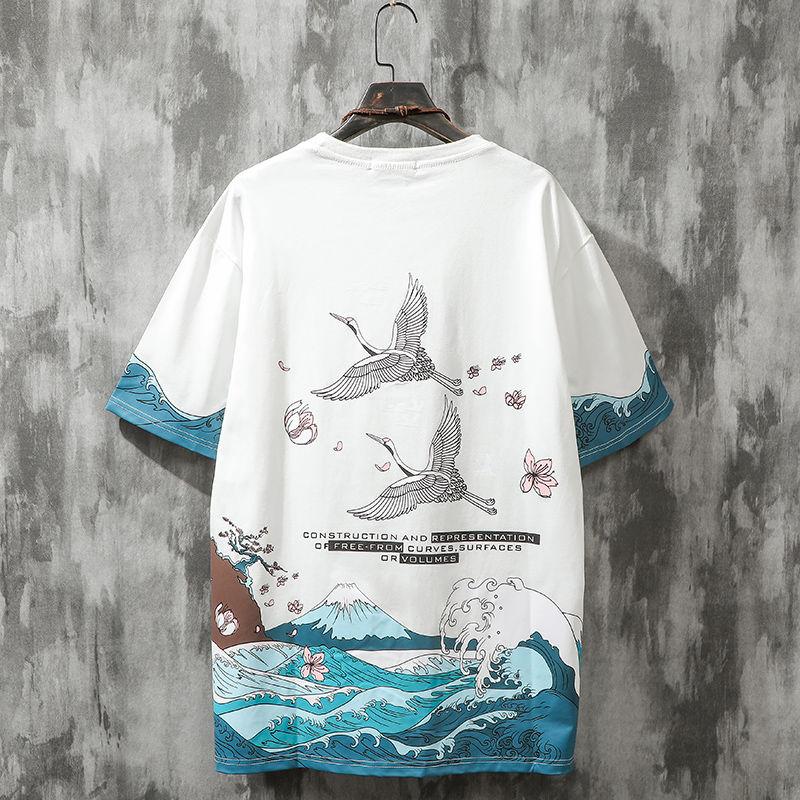 夏季国潮樱花短袖T恤男士ins潮牌学生