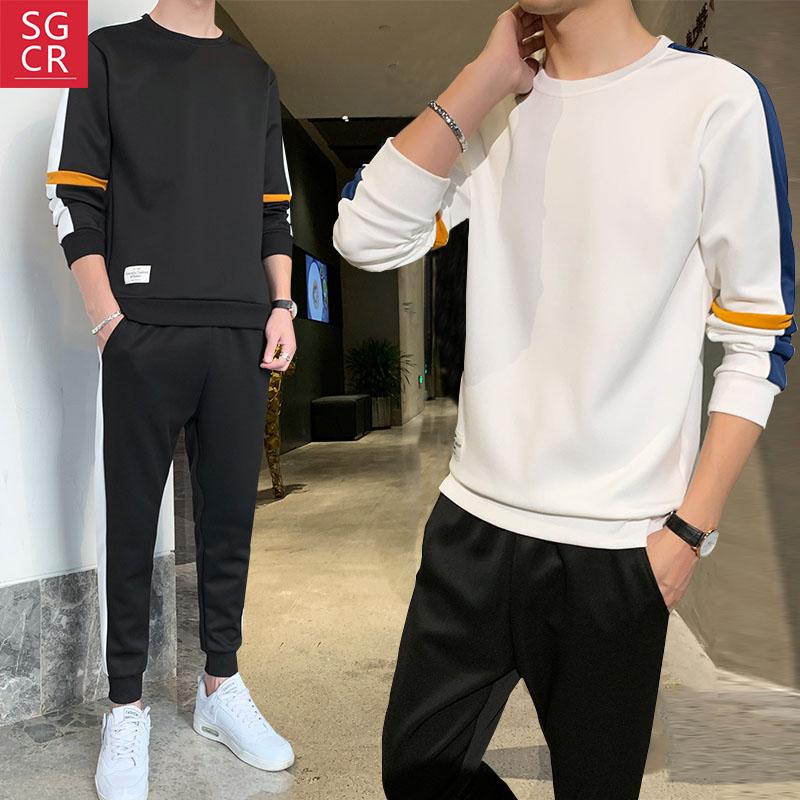 2020春季卫衣套装男新款潮男装长袖卫衣韩版潮流修身上下装两件套