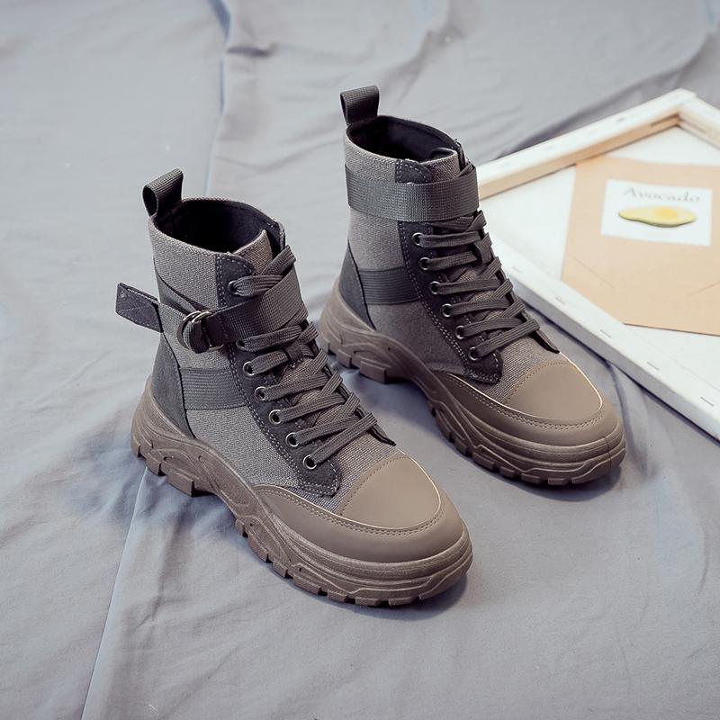 马丁雪地靴女2019新款内增高秋冬季瘦瘦短靴冬鞋网红厚底棉鞋