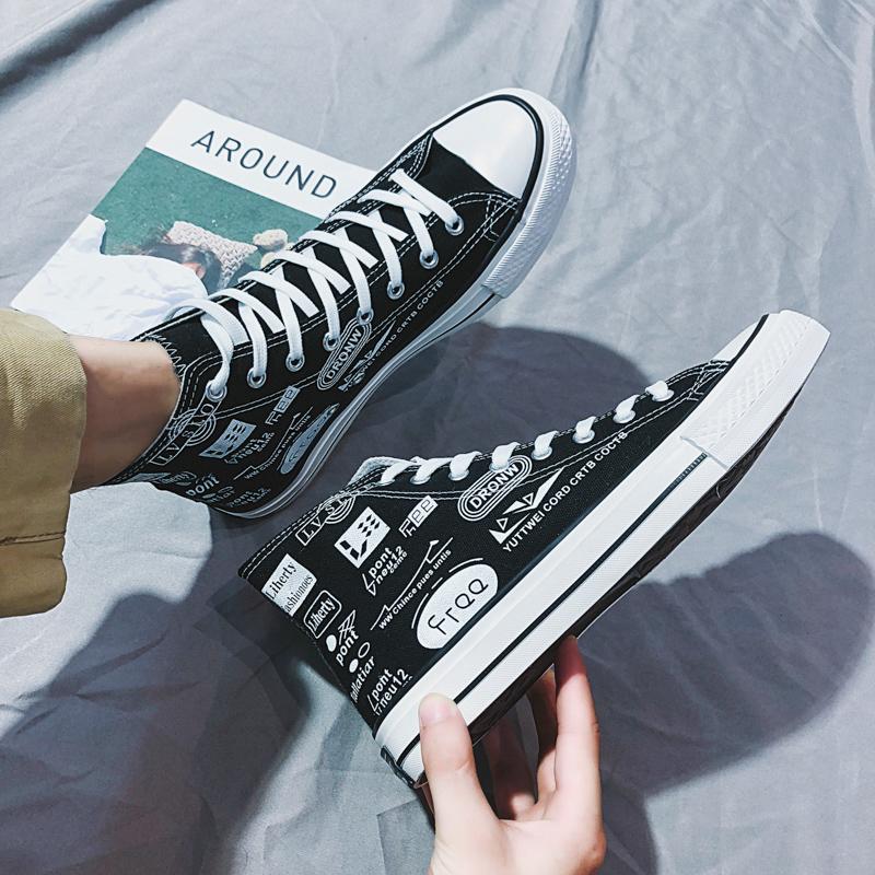 2020春季爆款高帮帆布鞋潮流街头男鞋涂鸦板鞋男士休闲百搭硫化鞋