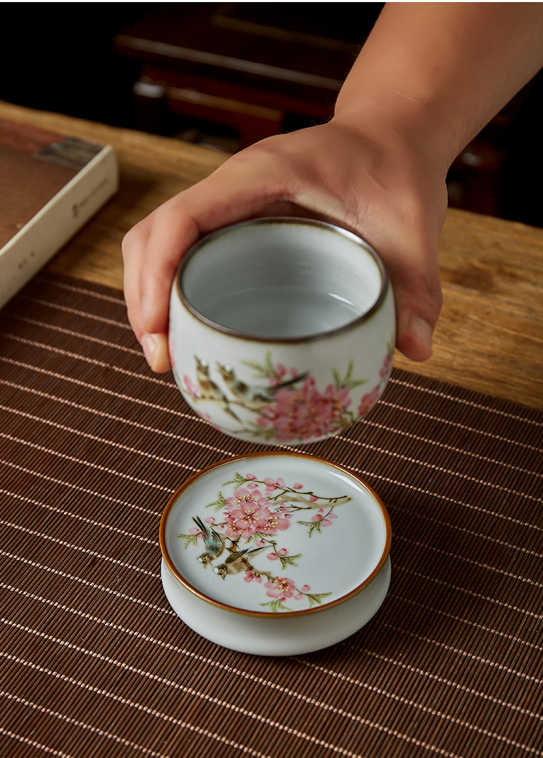 Peach blossom put cover the shot incarnate your up hand - made water point kung fu tea tea saucer jingdezhen ceramics accessories cup mat