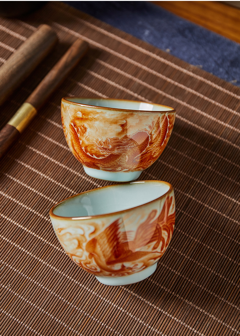 Shot incarnate your up hand - made longfeng masters cup kung fu tea set personal open piece of jingdezhen ceramics can be use a tea cup