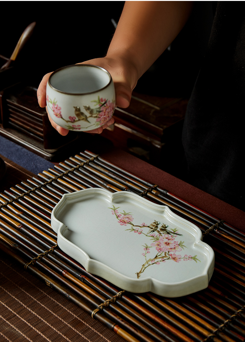 Shot incarnate your up hand - made water points peach blossom put tea tray was kung fu tea saucer jingdezhen ceramics fittings pot dry mercifully machine