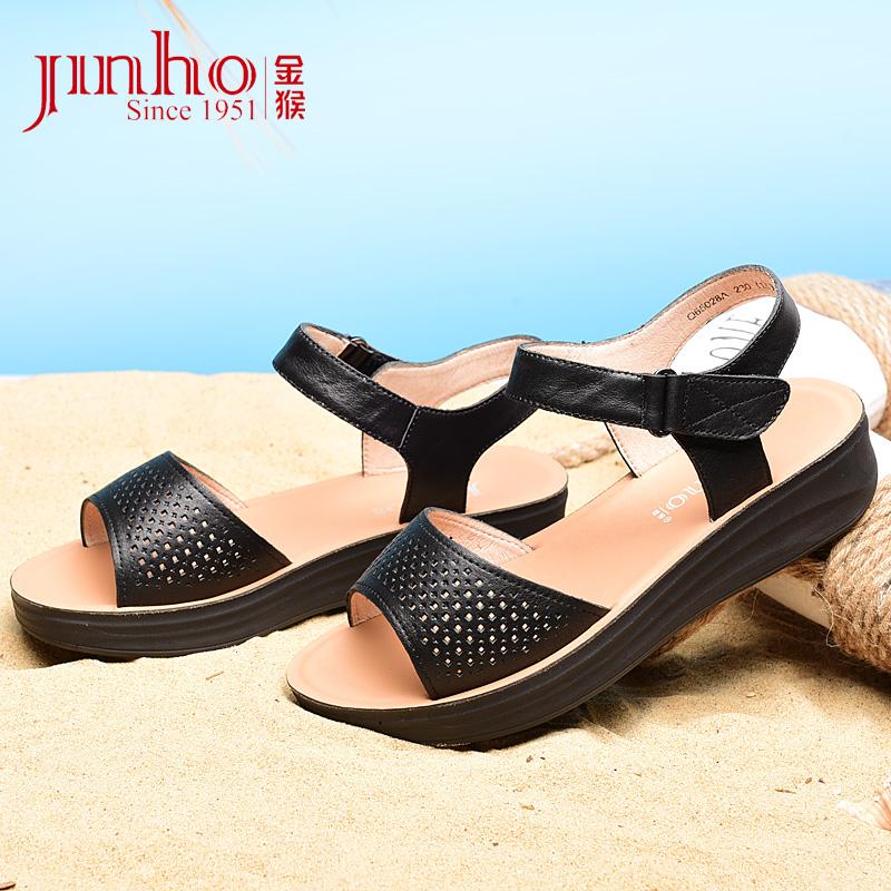 金猴夏季女凉鞋沙滩鞋增高鞋防水台透气牛皮休闲皮凉鞋户外女鞋子