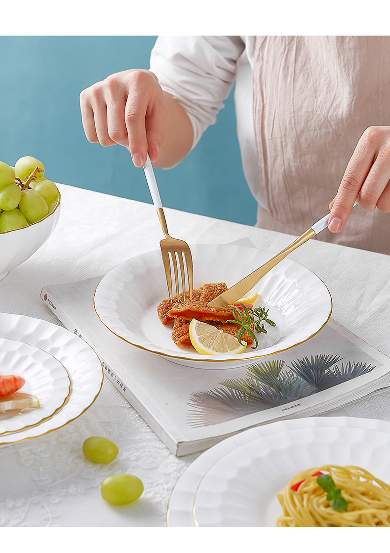 Wooden house product ipads porcelain tableware dishes suit I and contracted household high - grade up phnom penh northern dishes chopsticks combination