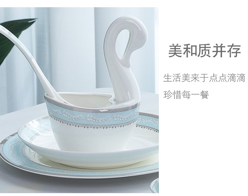 Wooden house product jingdezhen Nordic light ipads bowls up phnom penh dish suits for key-2 luxury household contracted Europe type high - end tableware to use