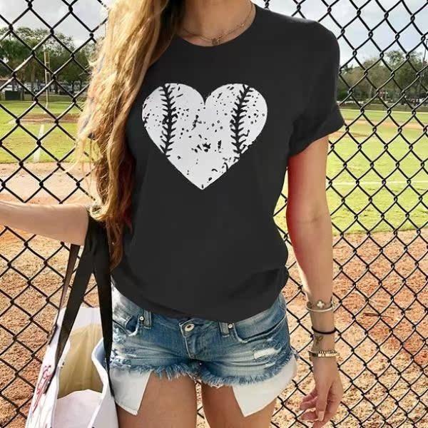 Women T-shirt Female Casual Funny Heart tshirt Woman Clothes