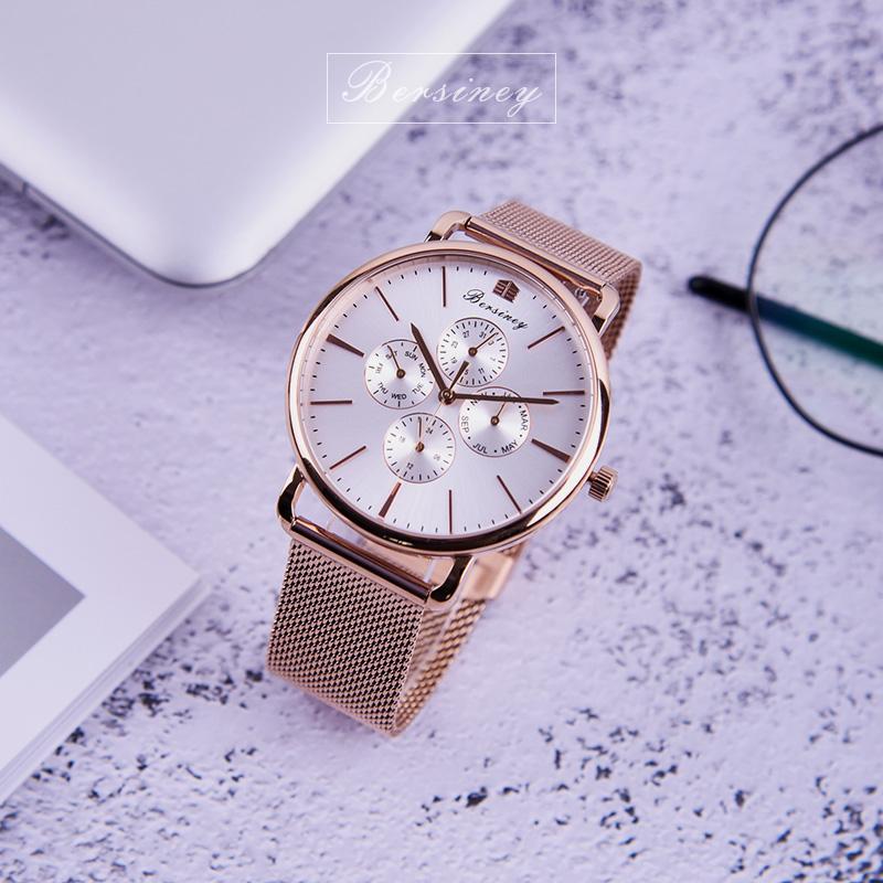 明星同款BERSINEY时尚超薄手表男女表钢带气质50防水 凡德罗计时