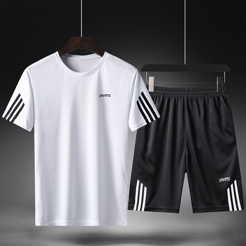 夏季男士短袖T恤休闲运动套装宽松型男短裤两件套跑步健身速干服