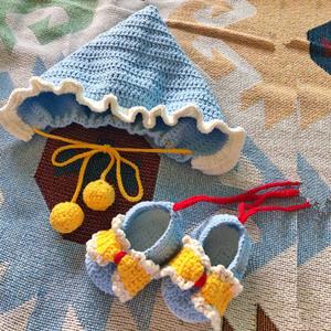 宝宝帽子鞋子套装diy材料包