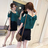 Chiffon short-sleeved women's summer 2021 new two sides wear women's Korean fashion super-fairy qi temperament on clothing women