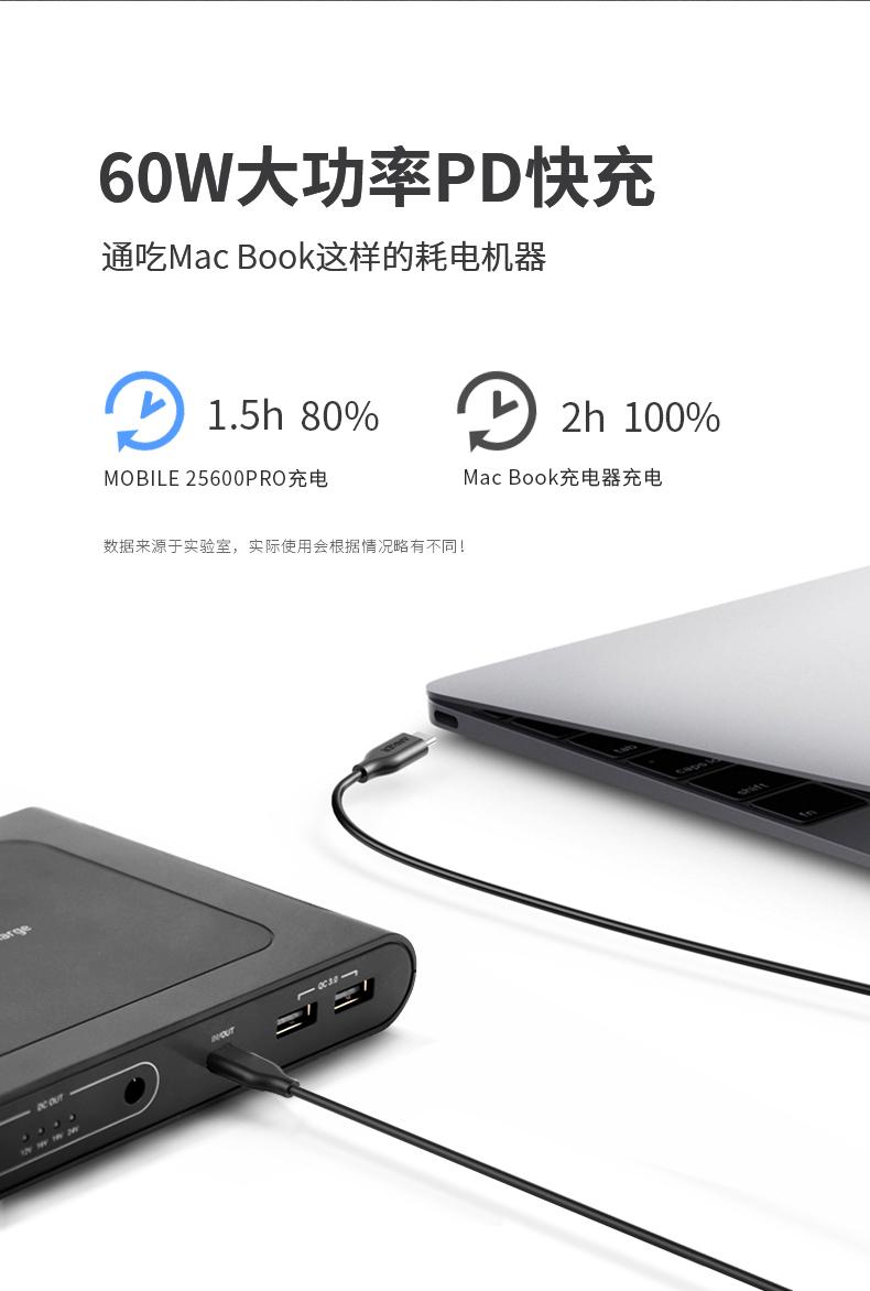偶觅笔记本移动充快充毫安大容量笔记本行动电源可携式详细照片
