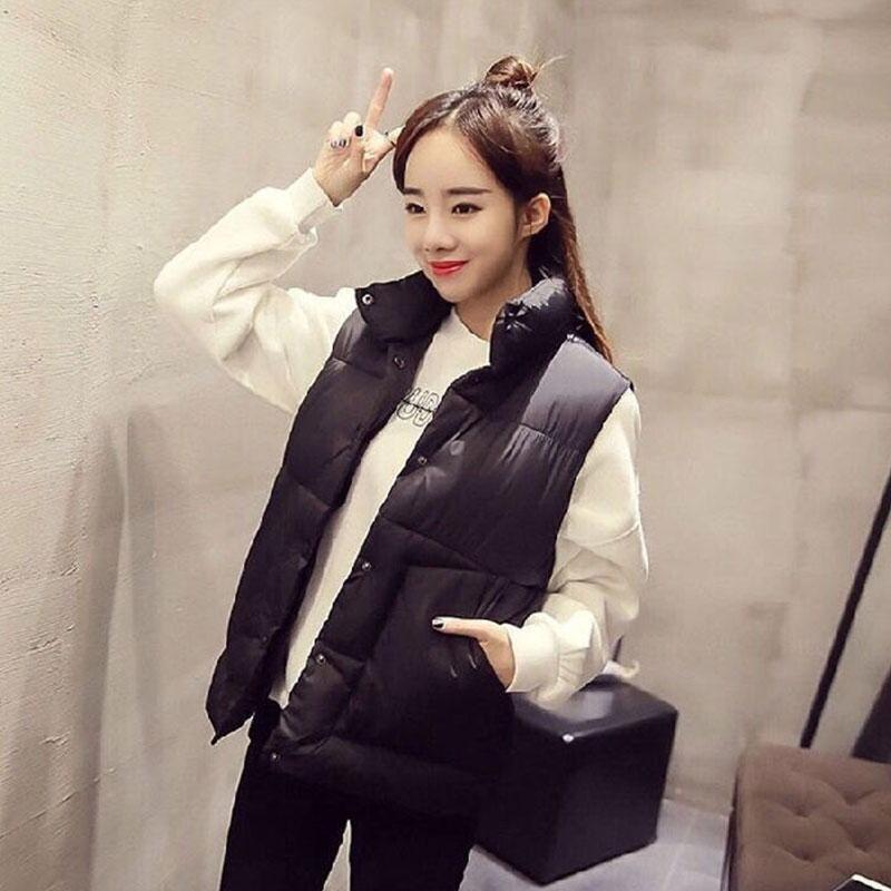 秋冬季大码短款韩版棉衣学生立领无袖背心马甲女宽松外穿百搭外套