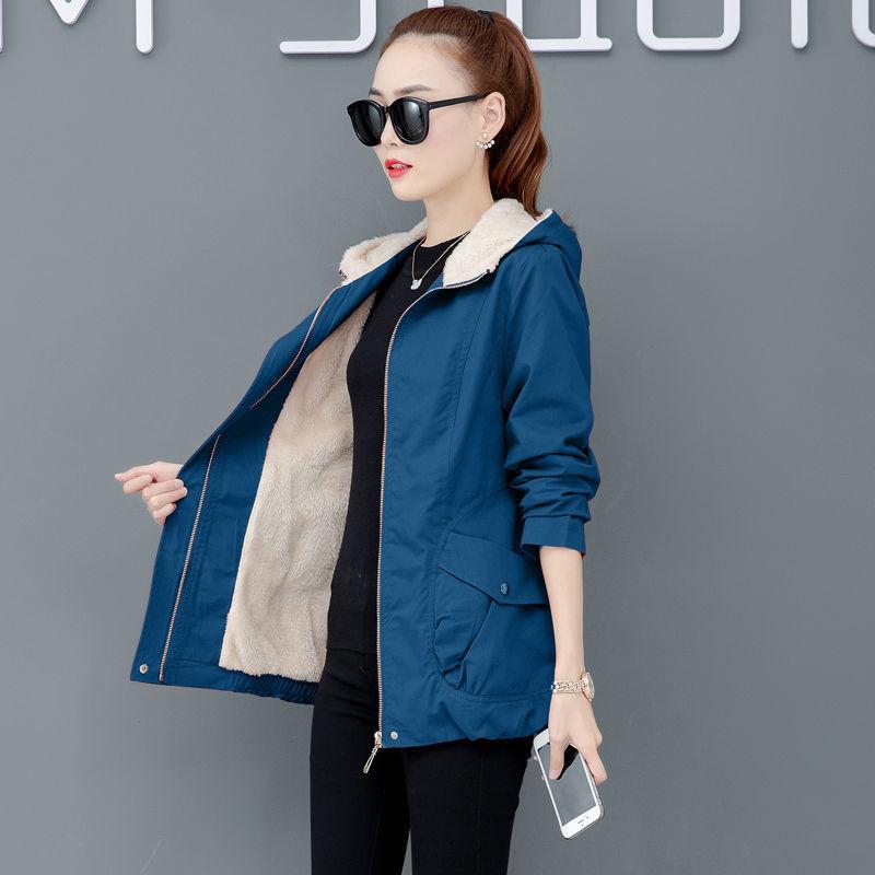 【加棉加绒】外套女加厚棉衣2020秋冬新款韩版洋气宽松女风衣外套