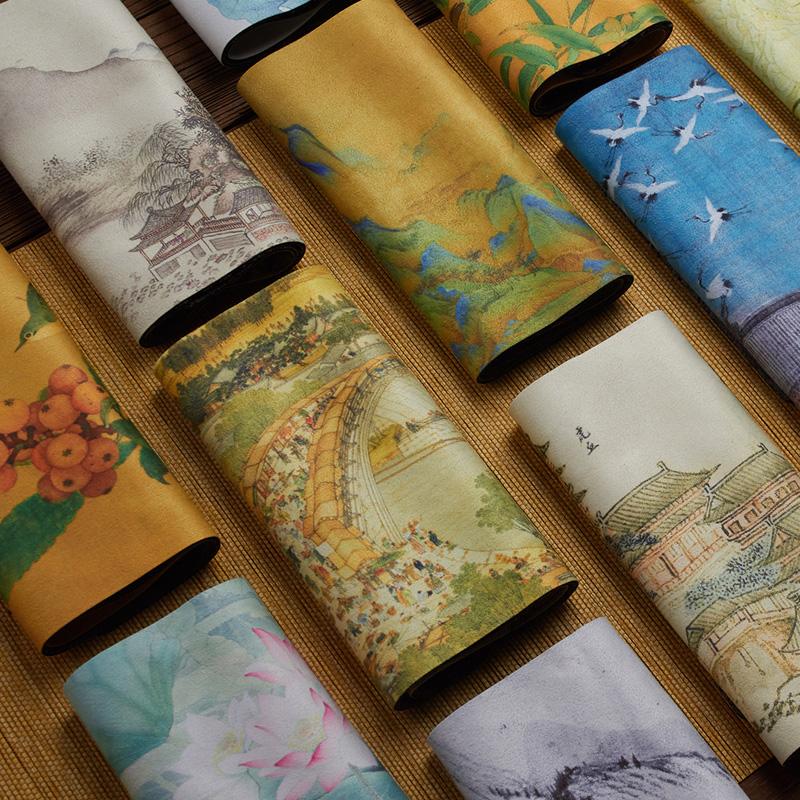 中国风彩绘茶巾布吸水加厚高档茶席养壶复古禅意垫丝绒茶道零配件