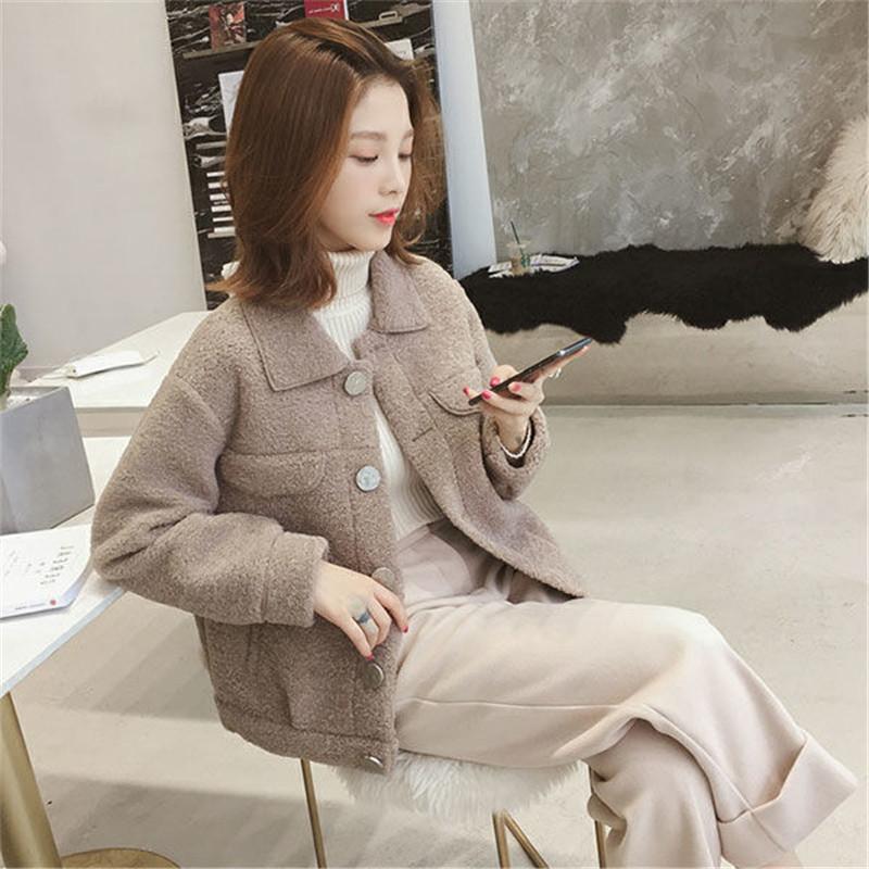 北闪韩版单排扣冬季短款羊羔毛外套女