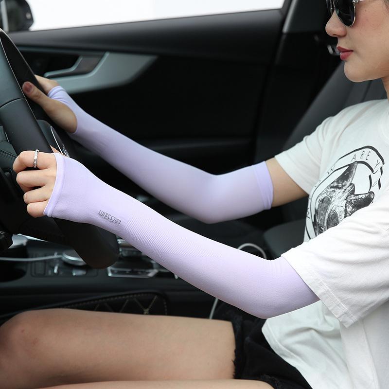 男女防晒冰丝袖套夏季薄款护臂护臂手袖开车骑行手臂字母套袖手套(【望见】高颜值防紫外线防晒冰袖)