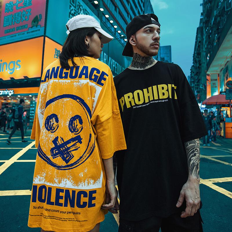 欧美街头oversize潮流短袖T恤男青少年嘻哈体恤宽松加肥加大半袖