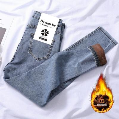 加绒加厚牛仔裤女弹力秋冬中腰显瘦长裤紧身裤子